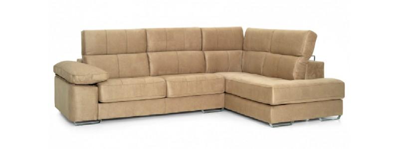 Granfort ® - Sofá Chaiselongue MILANO 4 plazas con asientos deslizantes