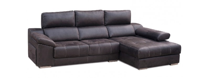 Granfort ® - Sofá chaiselongue MONZA con tapizado capitoné